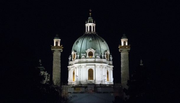 Karlskirche by night, Vienna