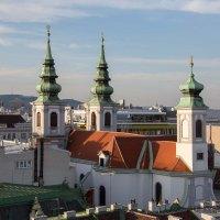 Katholische Kirche Mariahilf, Blick vom Dach des Haus des Meeres, Wien, Vienna, Österreich, Austria
